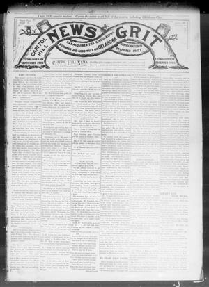 Primary view of object titled 'Capitol Hill News Grit (Capitol Hill, Okla.), Vol. 3, No. 17, Ed. 1 Saturday, January 4, 1908'.