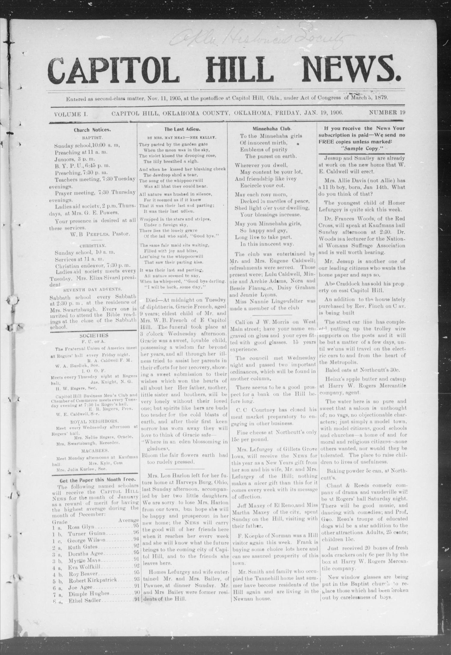 Capitol Hill News. (Capitol Hill, Okla.), Vol. 1, No. 19, Ed. 1 Friday, January 19, 1906                                                                                                      [Sequence #]: 1 of 8