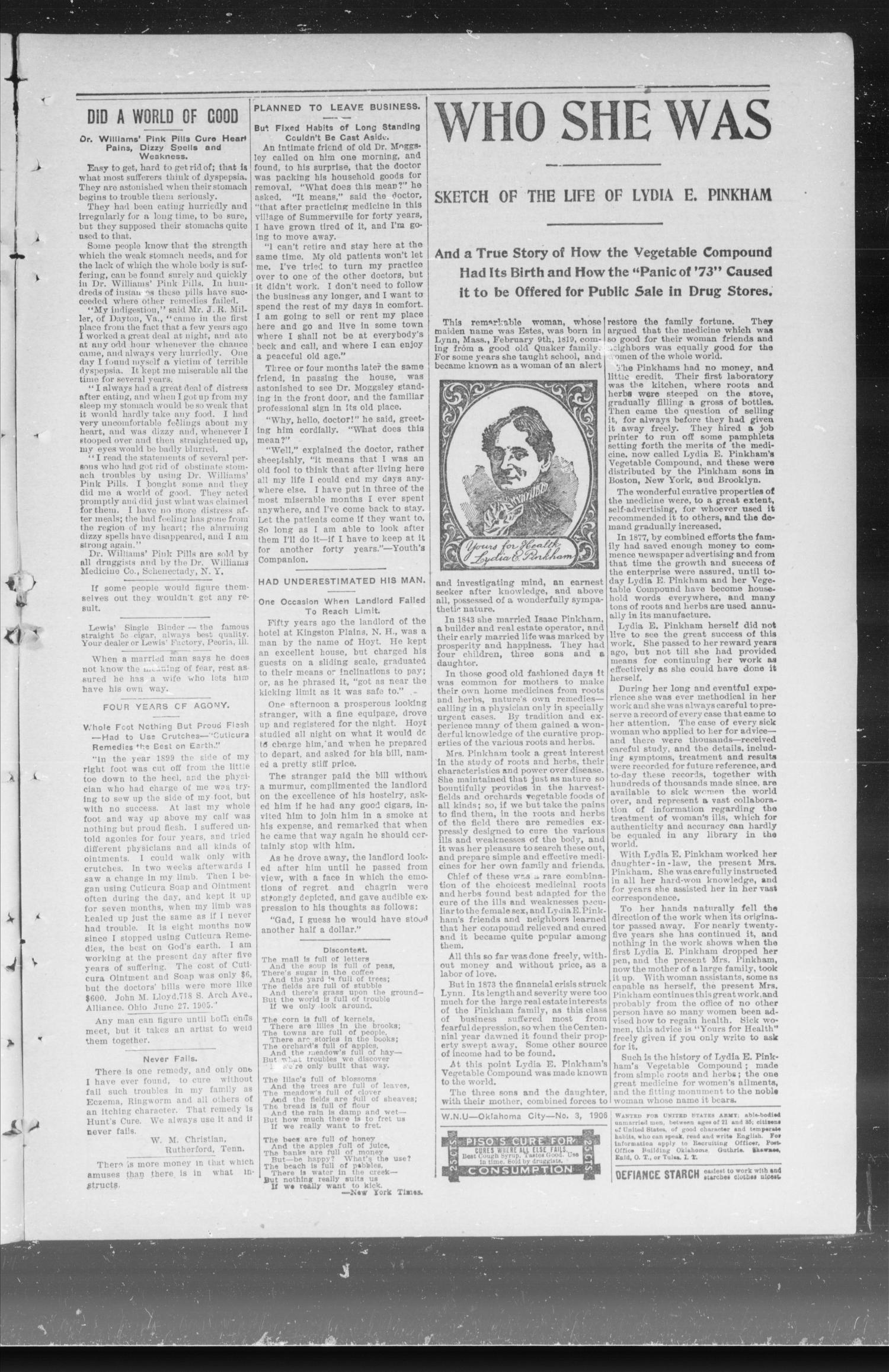 Capitol Hill News. (Capitol Hill, Okla.), Vol. 1, No. 19, Ed. 1 Friday, January 19, 1906                                                                                                      [Sequence #]: 3 of 8