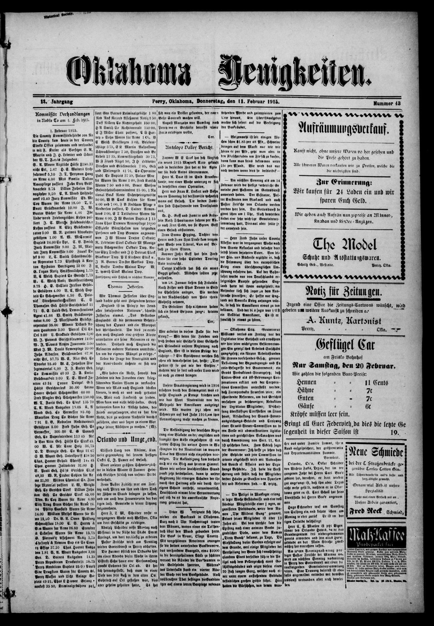 Oklahoma Neuigkeiten. (Perry, Okla.), Vol. 13, No. 43, Ed. 1 Thursday, February 11, 1915                                                                                                      [Sequence #]: 1 of 4
