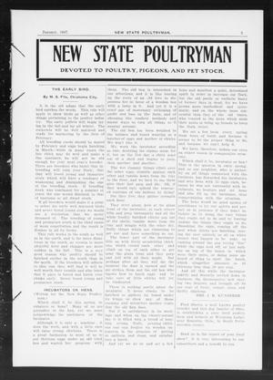 Primary view of object titled 'New State Poultryman (Oklahoma City, Okla.), Vol. [1], No. [6], Ed. 1 Tuesday, January 1, 1907'.