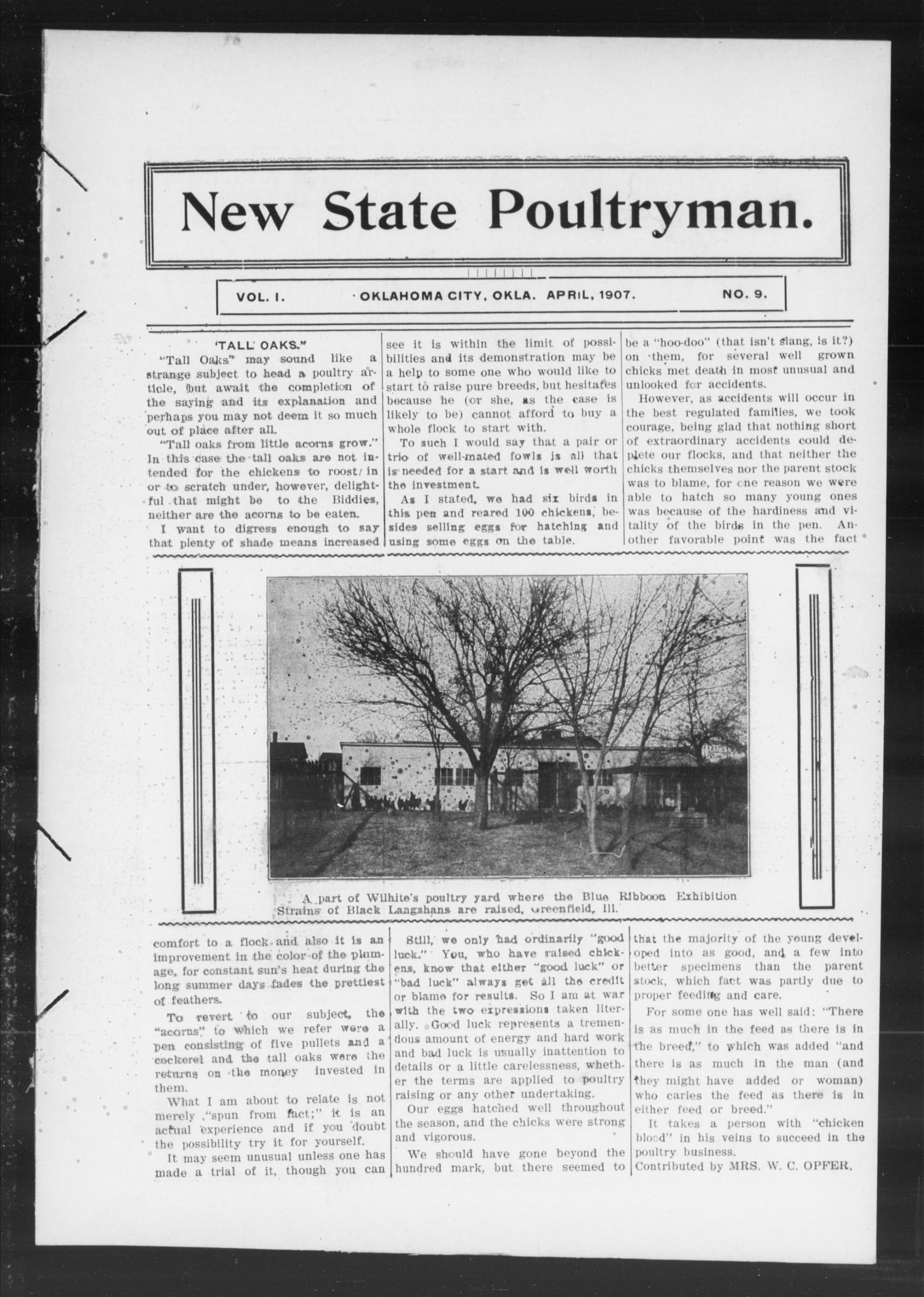 New State Poultryman. (Oklahoma City, Okla.), Vol. 1, No. 9, Ed. 1 Monday, April 1, 1907                                                                                                      [Sequence #]: 1 of 18