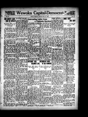 Primary view of object titled 'Wewoka Capital-Democrat (Wewoka, Okla.), Vol. 18, No. 10, Ed. 1 Thursday, March 21, 1918'.