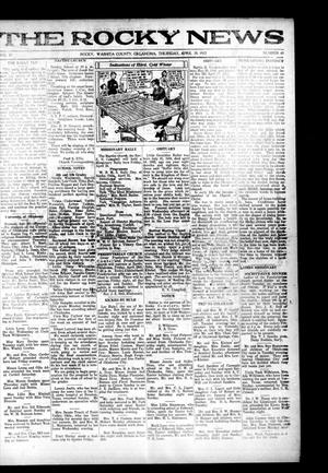 Primary view of object titled 'The Rocky News (Rocky, Okla.), Vol. 17, No. 41, Ed. 1 Thursday, April 20, 1922'.