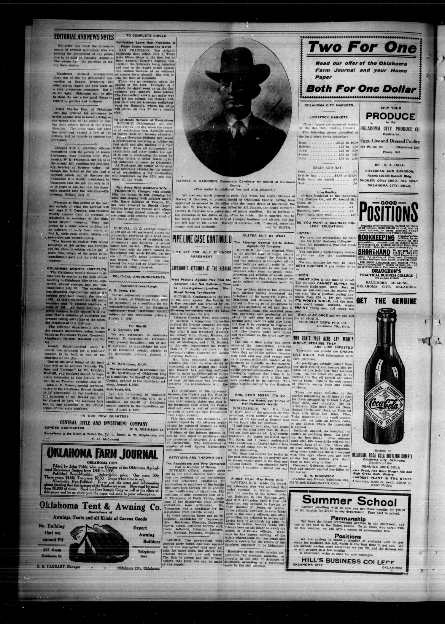 The Spencer Siftings (Spencer, Okla.), Vol. 1, No. 17, Ed. 1 Friday, July 17, 1908                                                                                                      [Sequence #]: 4 of 8