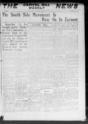 Primary view of object titled 'The Capitol Hill Weekly News (Capitol Hill, Okla.), Vol. 5, No. 9, Ed. 1 Thursday, November 18, 1909'.