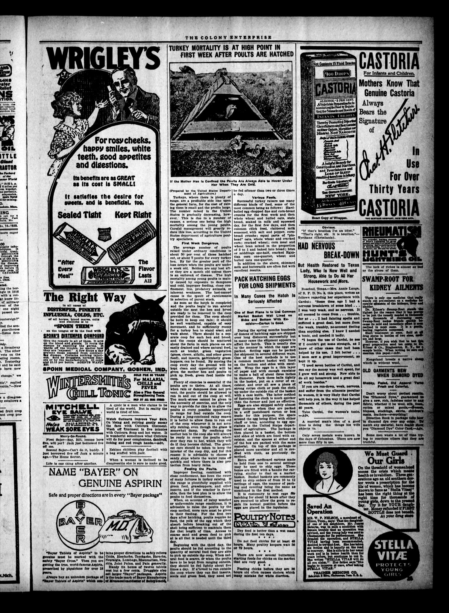 The Colony Enterprise (Colony, Okla.), Vol. 2, No. 1, Ed. 1 Thursday, April 1, 1920                                                                                                      [Sequence #]: 3 of 10