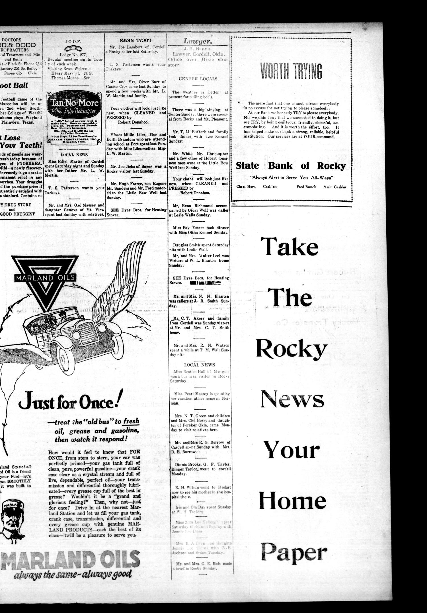 The Rocky News (Rocky, Okla.), Vol. 19, No. 17, Ed. 1 Thursday, October 25, 1923                                                                                                      [Sequence #]: 3 of 4