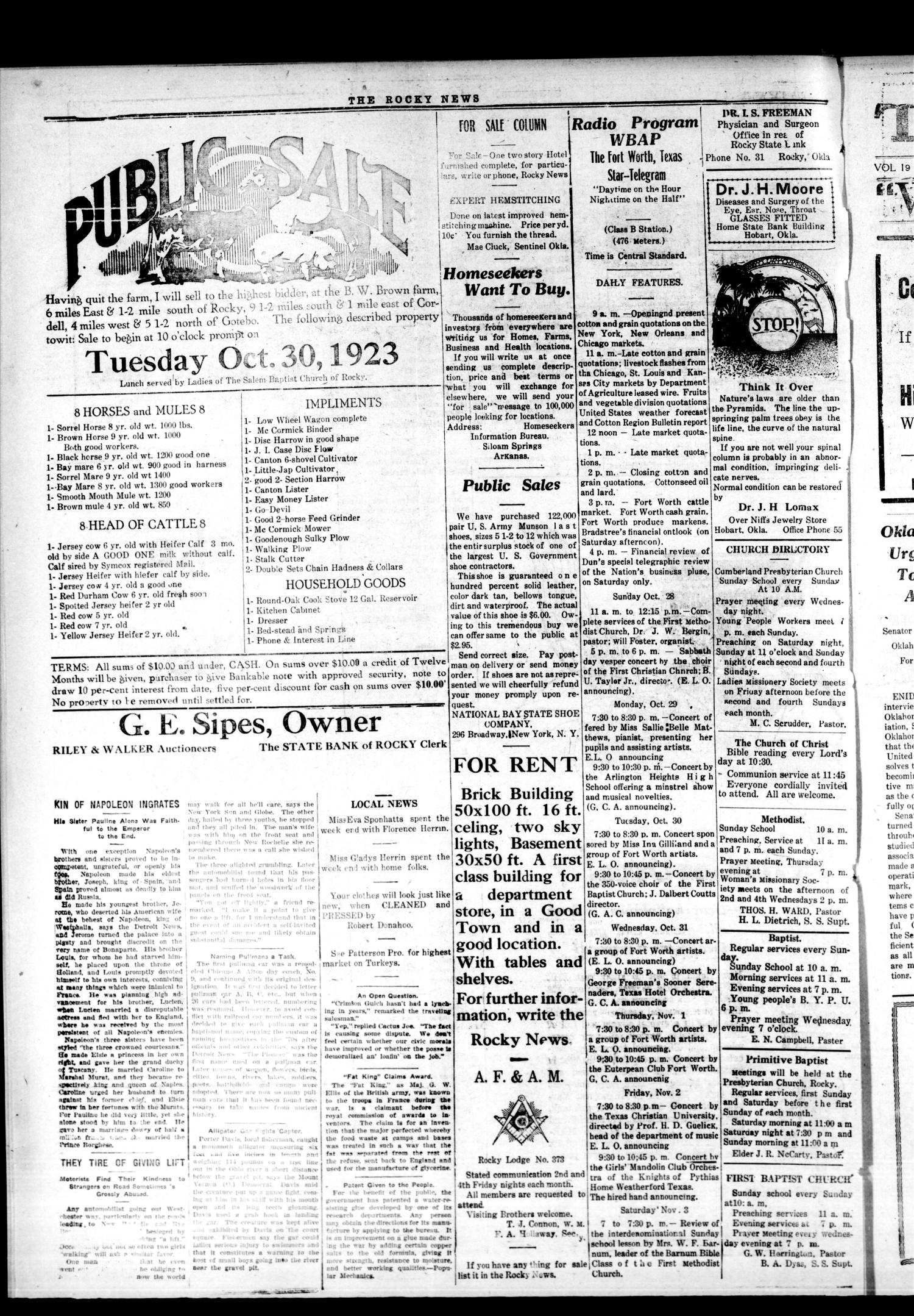 The Rocky News (Rocky, Okla.), Vol. 19, No. 17, Ed. 1 Thursday, October 25, 1923                                                                                                      [Sequence #]: 4 of 4