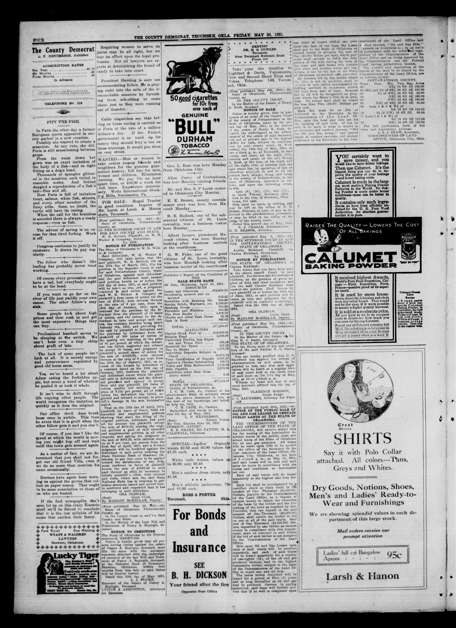 The County Democrat. (Tecumseh, Okla.), Vol. 27, No. 33, Ed. 1 Friday, May 20, 1921                                                                                                      [Sequence #]: 4 of 8