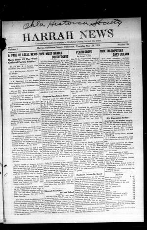 Primary view of object titled 'Harrah News (Harrah, Okla.), Vol. 5, No. 18, Ed. 1 Thursday, May 28, 1914'.