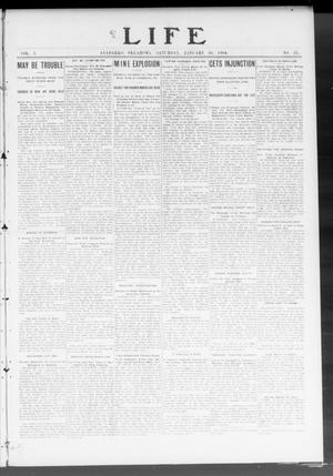 Primary view of object titled 'Life (Anadarko, Okla.), Vol. 1, No. 23, Ed. 1 Saturday, January 30, 1904'.