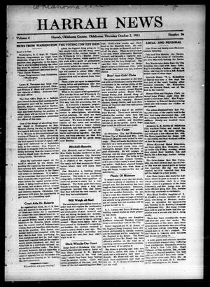 Primary view of object titled 'Harrah News (Harrah, Okla.), Vol. 4, No. 36, Ed. 1 Thursday, October 2, 1913'.