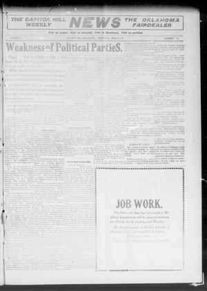 Primary view of object titled 'The Capitol Hill Weekly News The Oklahoma Fairdealer (Capitol Hill, Okla.), Vol. 5, No. 26, Ed. 1 Thursday, March 17, 1910'.