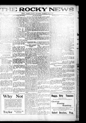 Primary view of object titled 'The Rocky News (Rocky, Okla.), Vol. 18, No. 1, Ed. 1 Thursday, July 6, 1922'.