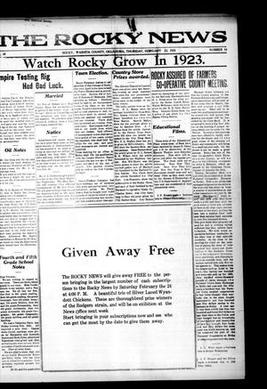 Primary view of object titled 'The Rocky News (Rocky, Okla.), Vol. 18, No. 34, Ed. 1 Thursday, February 22, 1923'.