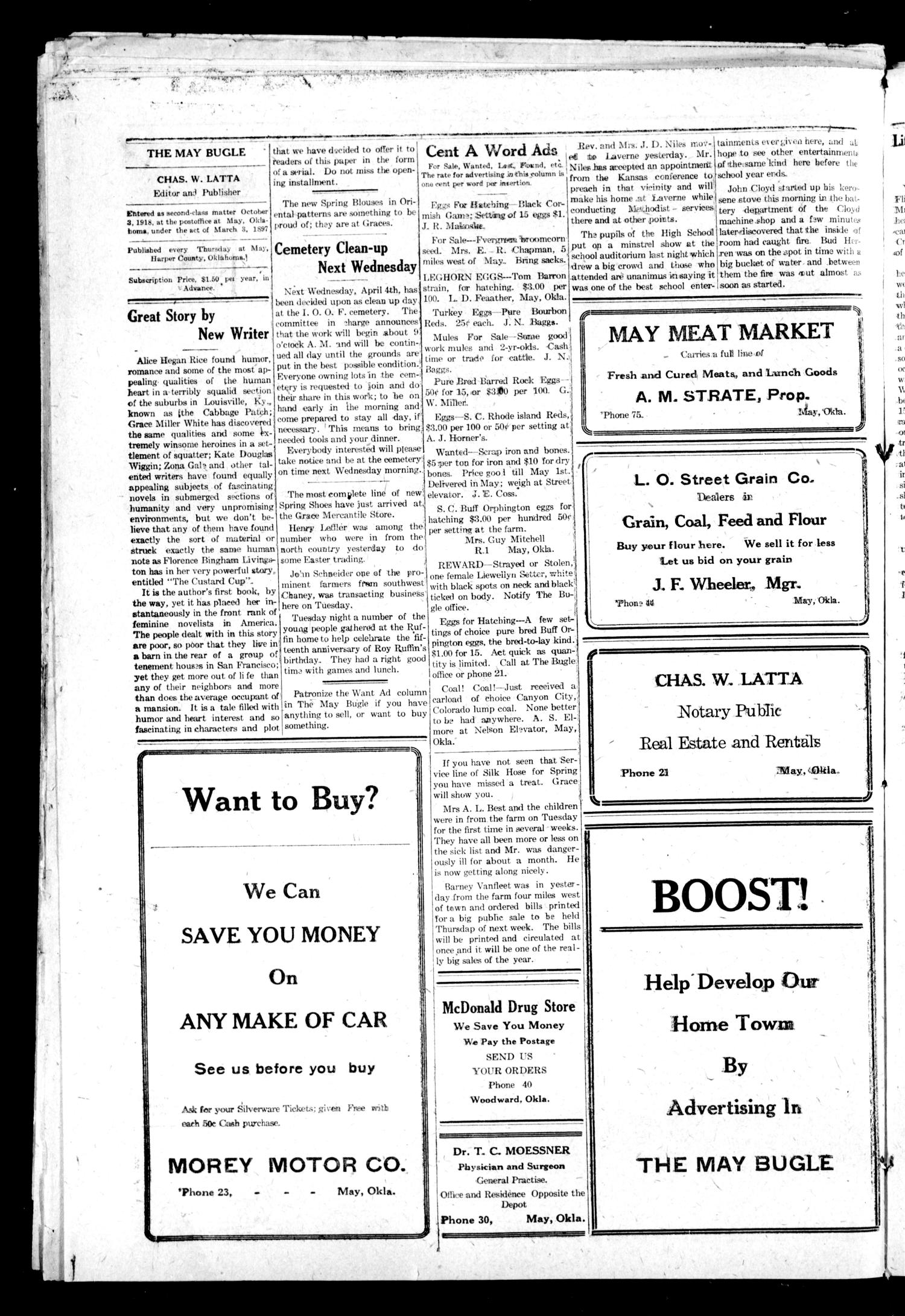 The May Bugle (May, Okla.), Vol. 19, No. 27, Ed. 1 Thursday, March 29, 1923                                                                                                      [Sequence #]: 4 of 8