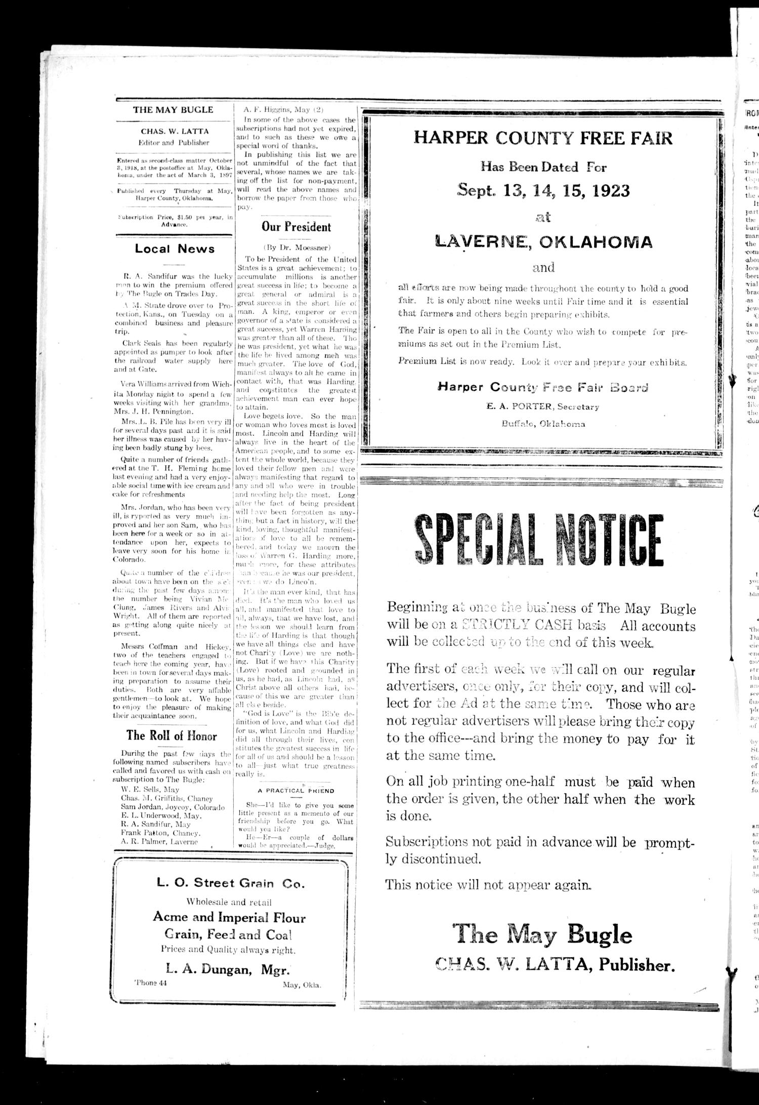 The May Bugle (May, Okla.), Vol. 19, No. 47, Ed. 1 Thursday, August 16, 1923                                                                                                      [Sequence #]: 4 of 8