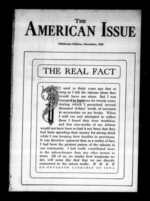 Primary view of object titled 'The American Issue (Oklahoma City, Okla.), Vol. 6, No. 12, Ed. 1 Thursday, December 1, 1910'.