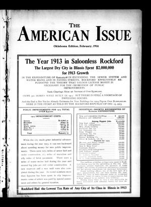 Primary view of object titled 'The American Issue (Oklahoma City, Okla.), Vol. 10, No. 2, Ed. 1 Sunday, February 1, 1914'.