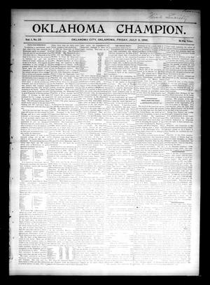 Primary view of object titled 'Oklahoma Champion. (Oklahoma City, Okla.), Vol. 1, No. 23, Ed. 1 Friday, July 3, 1896'.