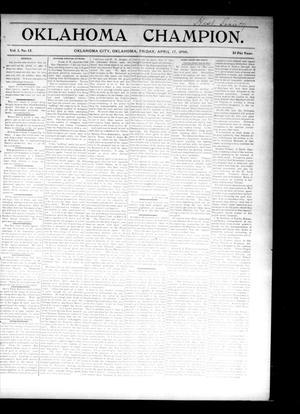 Primary view of Oklahoma Champion. (Oklahoma City, Okla.), Vol. 1, No. 12, Ed. 1 Friday, April 17, 1896