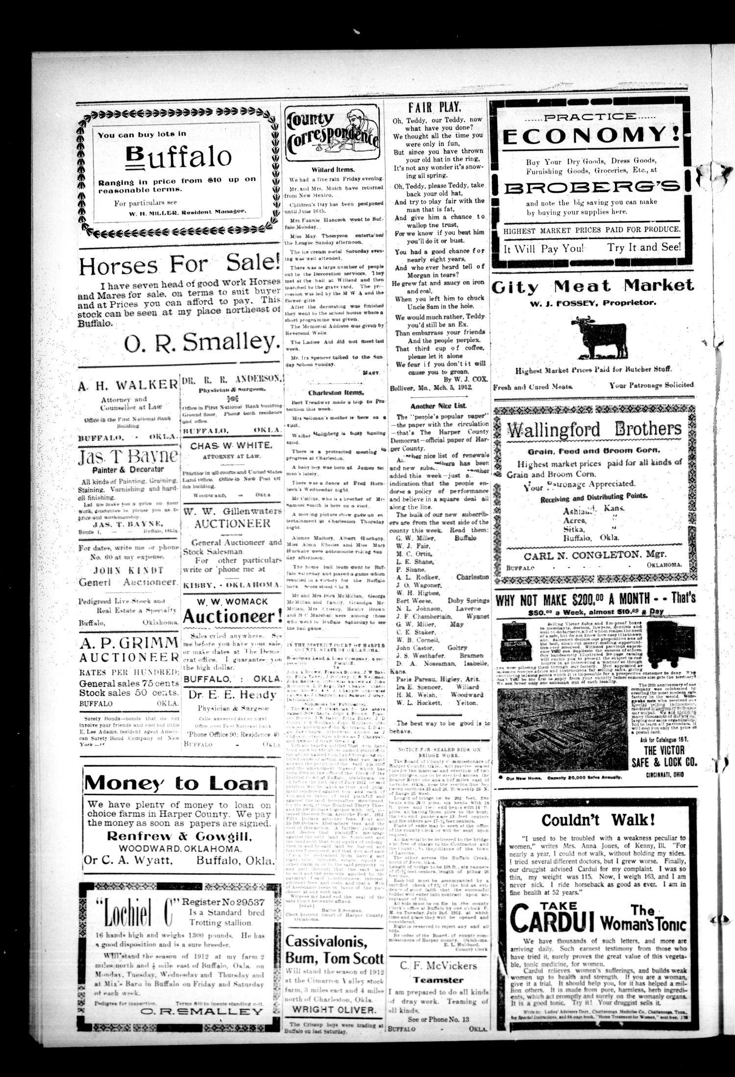 The Harper County Democrat (Buffalo, Okla.), Vol. 6, No. 7, Ed. 1 Friday, June 7, 1912                                                                                                      [Sequence #]: 4 of 4