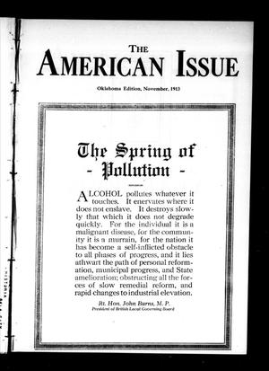 Primary view of object titled 'The American Issue (Oklahoma City, Okla.), Vol. 9, No. 11, Ed. 1 Saturday, November 1, 1913'.