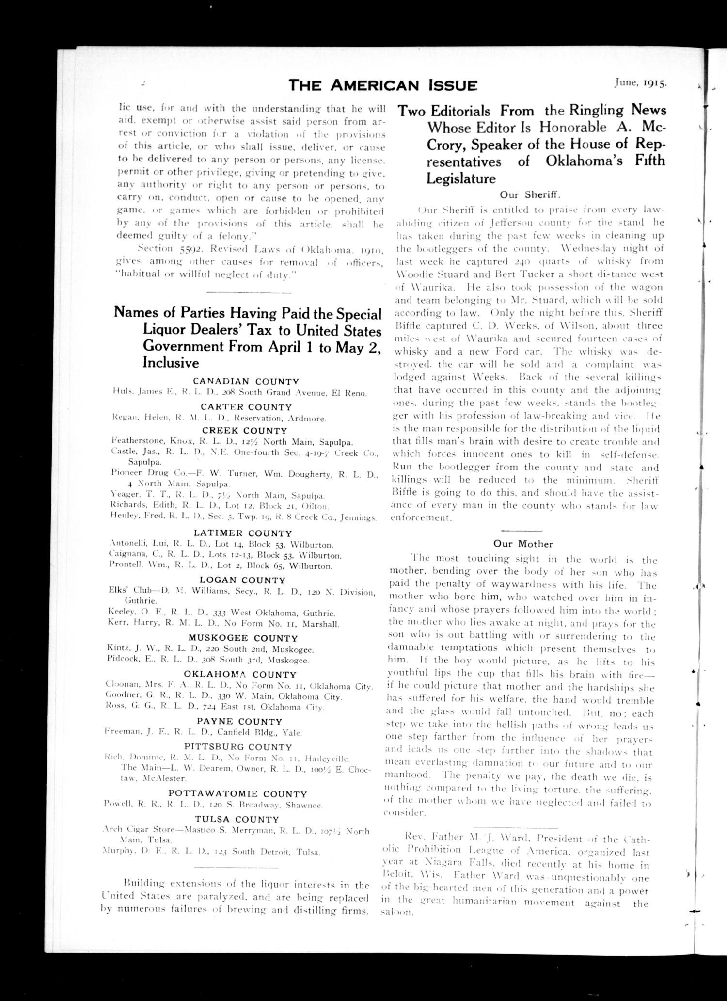 The American Issue (Oklahoma City, Okla.), Vol. 11, No. 6, Ed. 1 Tuesday, June 1, 1915                                                                                                      [Sequence #]: 4 of 20