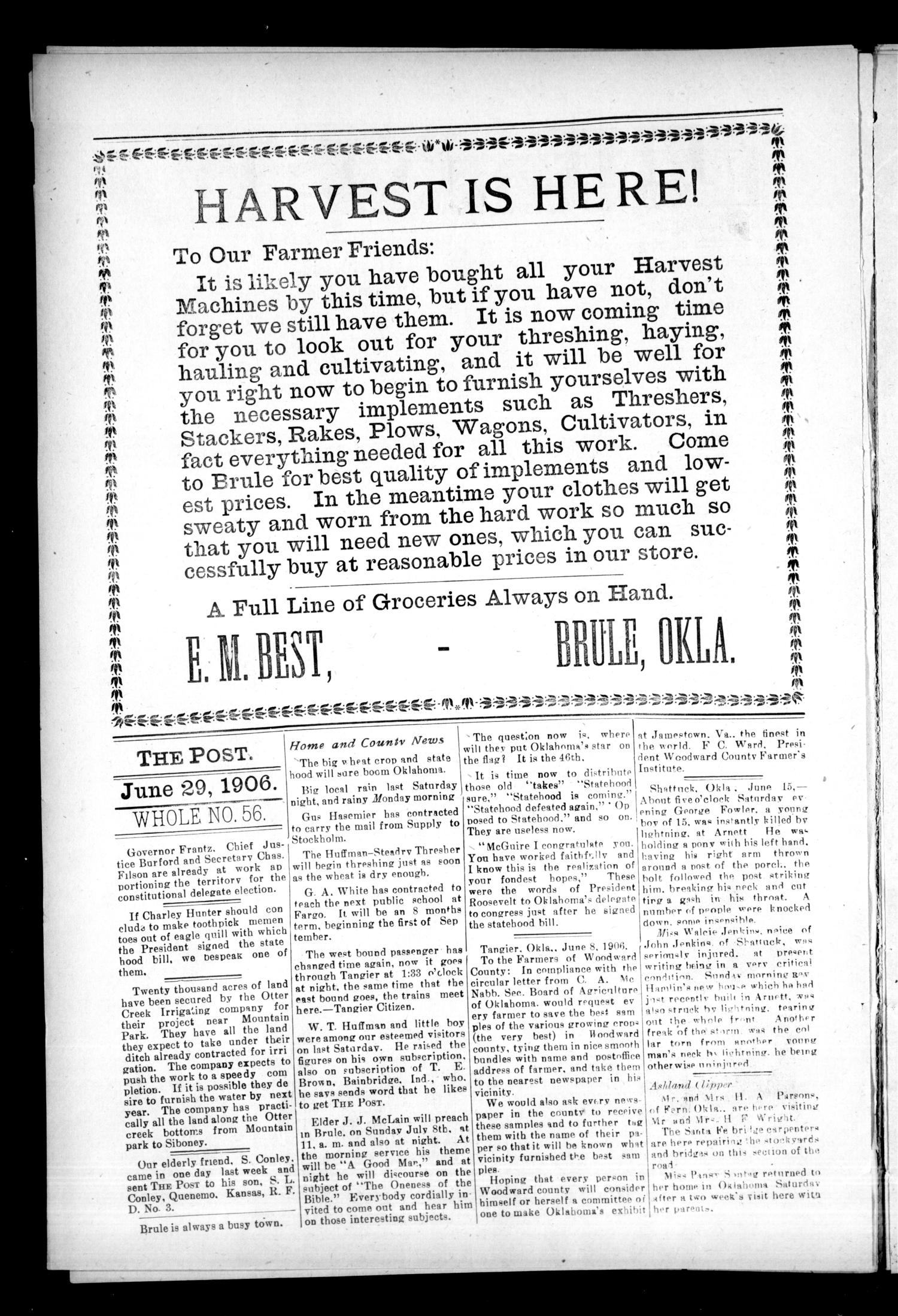 The Post. (Brule, Okla. Terr.), Vol. 2, No. 4, Ed. 1 Friday, June 29, 1906                                                                                                      [Sequence #]: 2 of 12