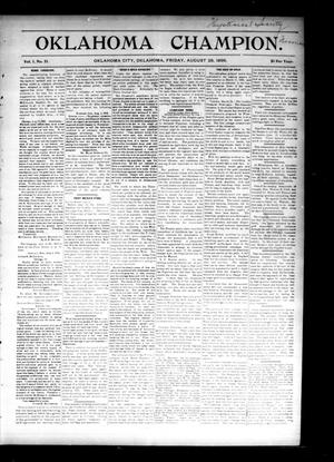 Primary view of object titled 'Oklahoma Champion. (Oklahoma City, Okla.), Vol. 1, No. 31, Ed. 1 Friday, August 28, 1896'.