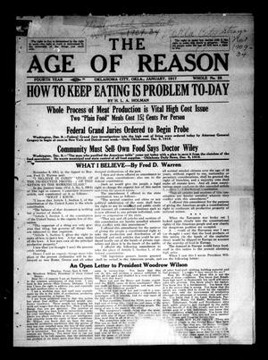 Primary view of object titled 'The Age of Reason (Oklahoma City, Okla.), Vol. 4, No. 28, Ed. 1 Monday, January 1, 1917'.