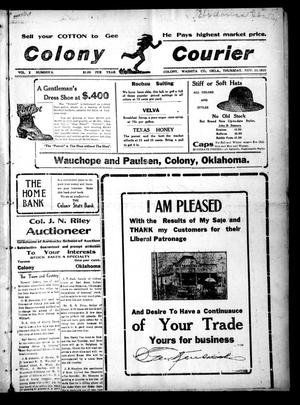 Primary view of object titled 'Colony Courier (Colony, Okla.), Vol. 2, No. 8, Ed. 1 Thursday, November 10, 1910'.