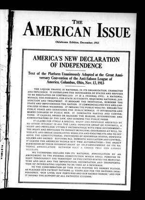 Primary view of object titled 'The American Issue (Oklahoma City, Okla.), Vol. 9, No. 12, Ed. 1 Monday, December 1, 1913'.