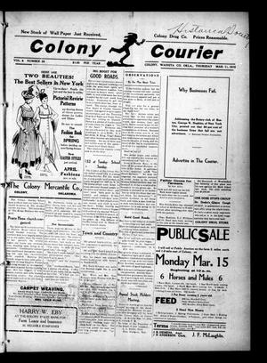 Primary view of object titled 'Colony Courier (Colony, Okla.), Vol. 6, No. 26, Ed. 1 Thursday, March 11, 1915'.