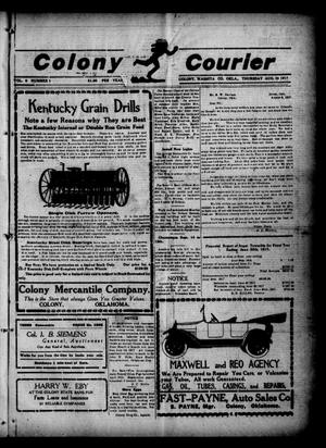 Primary view of object titled 'Colony Courier (Colony, Okla.), Vol. 9, No. 1, Ed. 1 Thursday, August 23, 1917'.