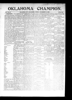 Primary view of object titled 'Oklahoma Champion. (Oklahoma City, Okla.), Vol. 1, No. 42, Ed. 1 Friday, November 13, 1896'.