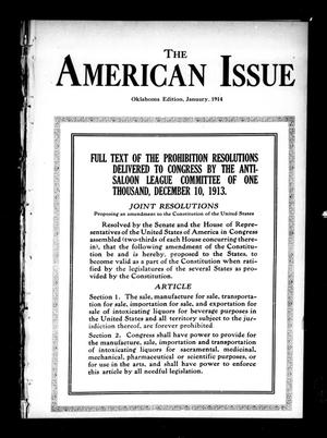 Primary view of object titled 'The American Issue (Oklahoma City, Okla.), Vol. 10, No. 1, Ed. 1 Thursday, January 1, 1914'.
