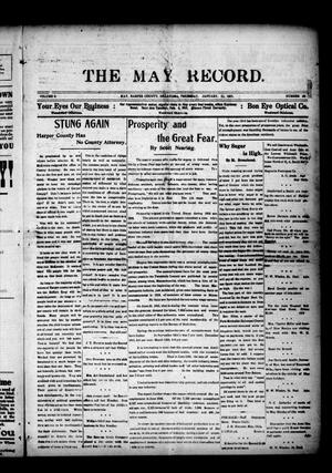 Primary view of object titled 'The May Record. (May, Okla.), Vol. 5, No. 43, Ed. 1 Thursday, January 11, 1917'.