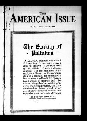 Primary view of object titled 'The American Issue (Oklahoma City, Okla.), Vol. 11, No. 10, Ed. 1 Friday, October 1, 1915'.