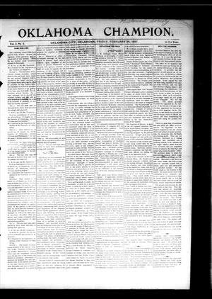 Primary view of object titled 'Oklahoma Champion. (Oklahoma City, Okla.), Vol. 2, No. 5, Ed. 1 Friday, February 26, 1897'.