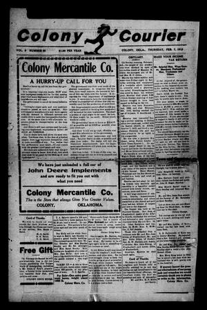 Primary view of object titled 'Colony Courier (Colony, Okla.), Vol. 9, No. 23, Ed. 1 Thursday, February 7, 1918'.
