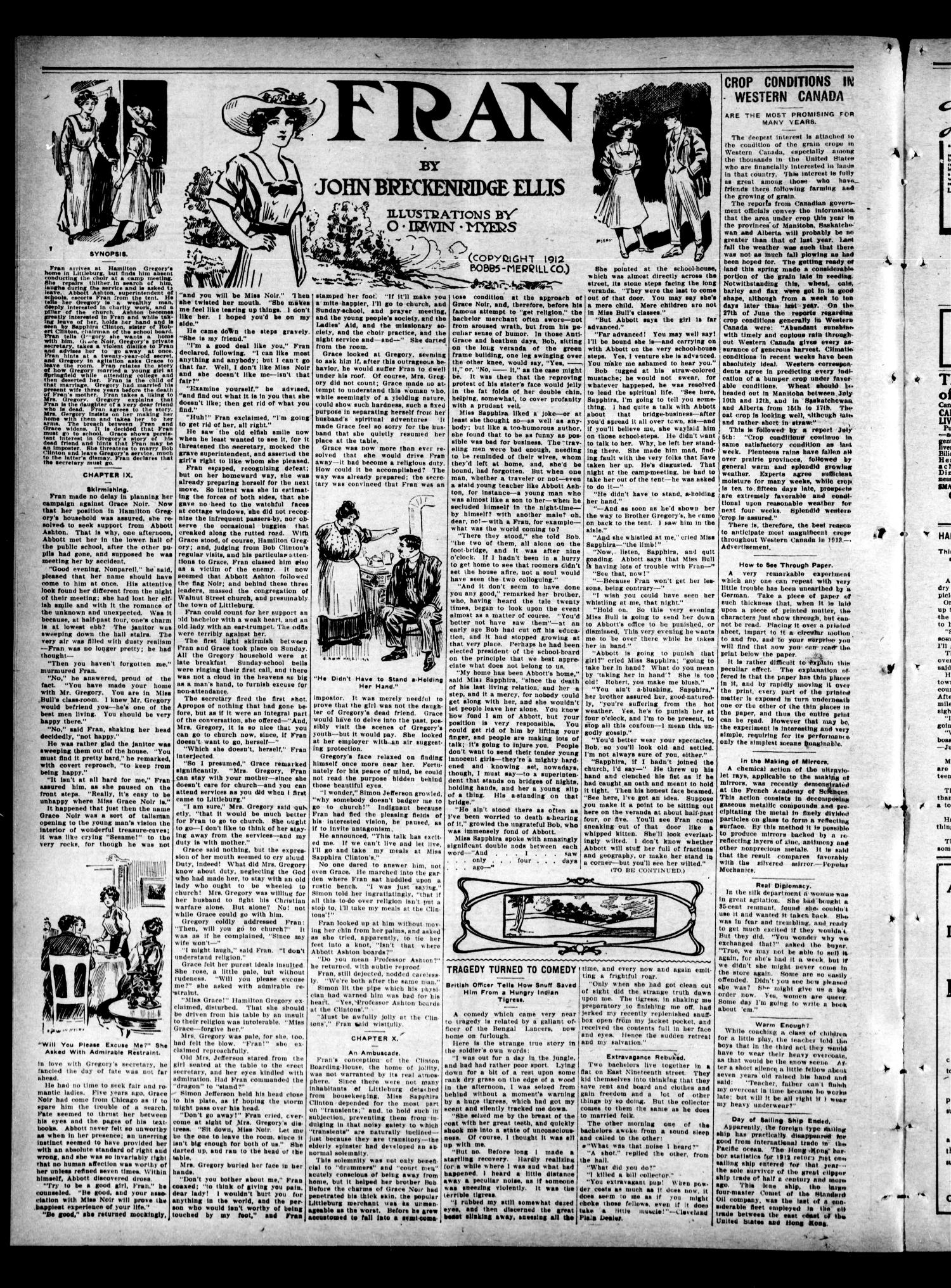 Colony Courier (Colony, Okla.), Vol. 4, No. 46, Ed. 1 Thursday, August 7, 1913                                                                                                      [Sequence #]: 4 of 6