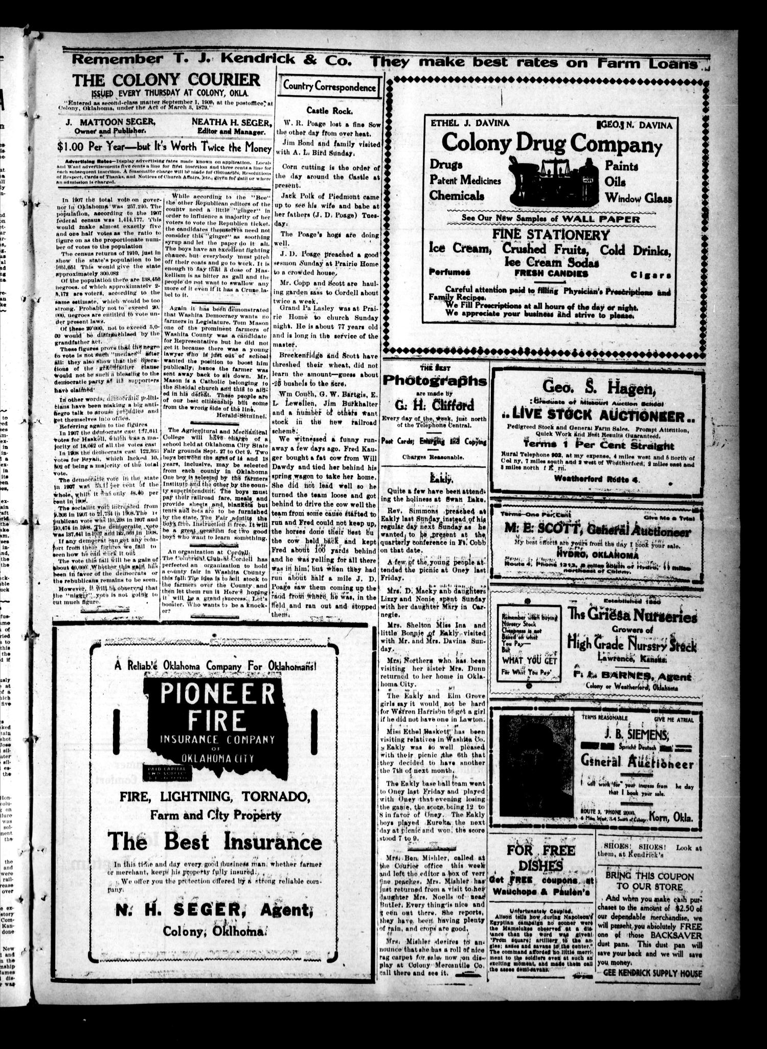 Colony Courier (Colony, Okla.), Vol. 1, No. 49, Ed. 1 Thursday, August 18, 1910                                                                                                      [Sequence #]: 3 of 8