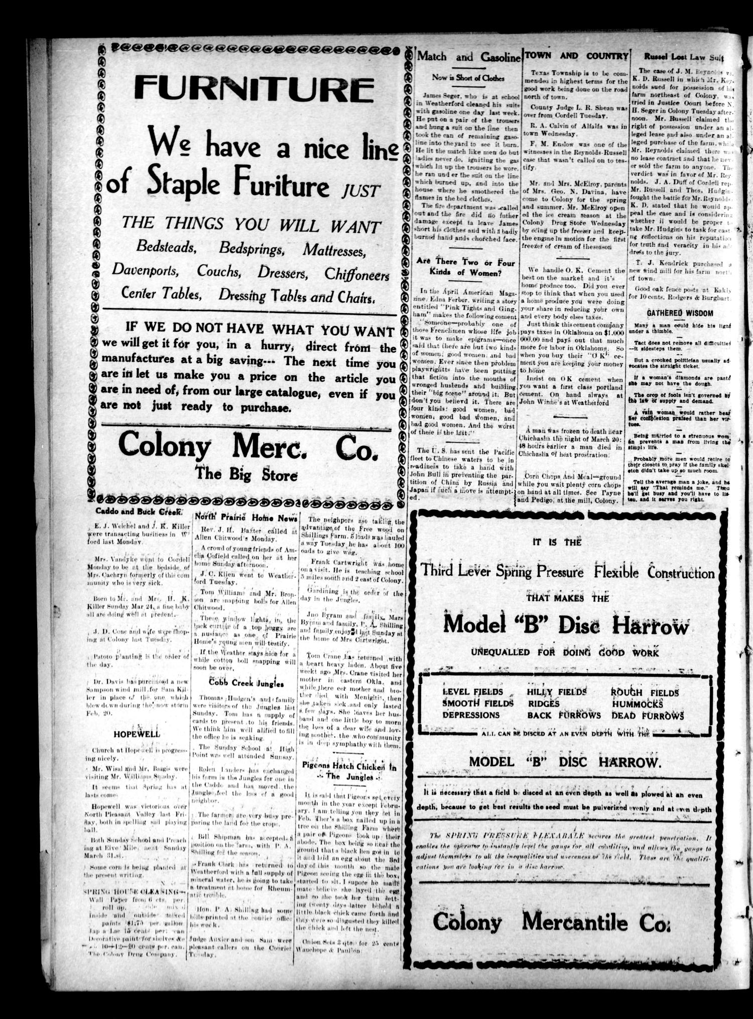 Colony Courier (Colony, Okla.), Vol. 3, No. 29, Ed. 1 Thursday, March 28, 1912                                                                                                      [Sequence #]: 4 of 6