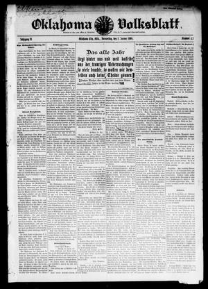 Primary view of object titled 'Oklahoma Volksblatt. (Oklahoma City, Okla.), Vol. 14, No. 42, Ed. 1 Thursday, January 2, 1908'.