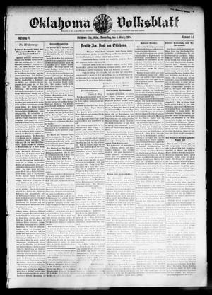 Primary view of object titled 'Oklahoma Volksblatt. (Oklahoma City, Okla.), Vol. 14, No. 51, Ed. 1 Thursday, March 5, 1908'.