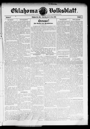 Primary view of Oklahoma Volksblatt. (Oklahoma City, Okla.), Vol. 14, No. 48, Ed. 1 Thursday, February 13, 1908