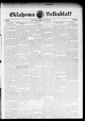 Primary view of object titled 'Oklahoma Volksblatt. (El Reno, Okla.), Vol. 16, No. 10, Ed. 1 Thursday, May 20, 1909'.