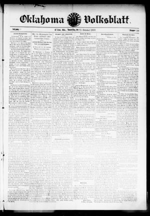 Primary view of object titled 'Oklahoma Volksblatt. (El Reno, Okla.), Vol. 17, No. 30, Ed. 1 Thursday, October 13, 1910'.